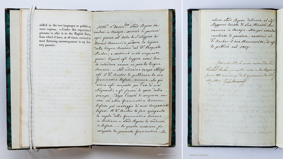 Notes in Italian and French bound into a copy of Aucher's 1819 Armenian grammar (ca. 1825).