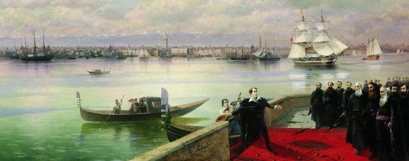 Detail from Byron's visit to San Lazzaro by Aivazovsky (1899)
