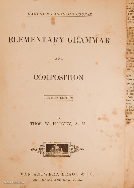 Harvey's Grammar Cookbook Title Page