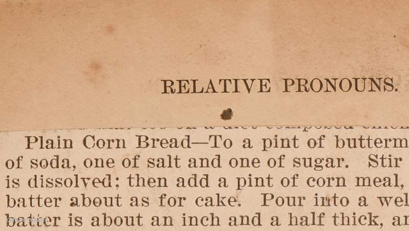 Relative Pronouns and Plain Corn Bread